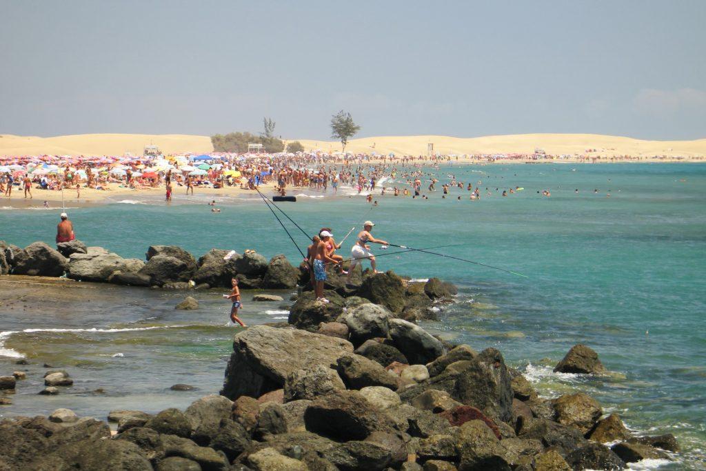 People fishing at Maspalomas, Gran Canaria